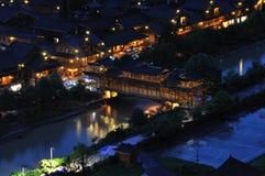Escena de la noche de la aldea de Miao Fotografía de archivo libre de regalías