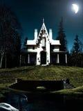 Escena de la noche de la casa y del cisne Fotografía de archivo