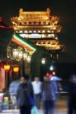 Escena de la noche de la ciudad antigua. foto de archivo