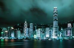 Escena de la noche de la metrópoli de Hong-Kong Fotografía de archivo