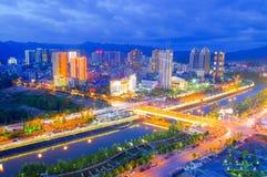 Escena de la noche de Lichuan imagen de archivo