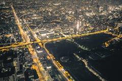 Escena de la noche de Osaka Fotografía de archivo