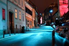 Escena de la noche del camino en ciudad superior vieja en Zagreb, Croacia fotos de archivo libres de regalías