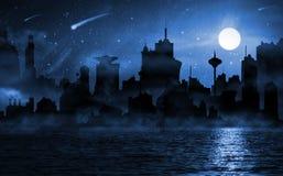 Escena de la noche del horizonte de la ciudad imágenes de archivo libres de regalías