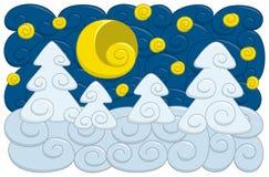 Escena de la noche del invierno Imagen de archivo libre de regalías