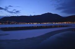 Escena de la noche del invierno Imágenes de archivo libres de regalías