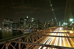 Escena de la noche del puente de Brooklyn Foto de archivo libre de regalías