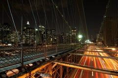 Escena de la noche del puente de Brooklyn Foto de archivo