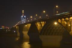Escena de la noche del puente de Changsha Xiang River Fotografía de archivo