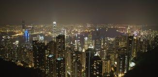 Escena de la noche del puerto de Hong-Kong Imagen de archivo libre de regalías