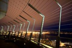 Escena de la noche del puerto de Seattle Fotografía de archivo