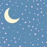 Escena de la noche del vector con la luna y las estrellas inconsútil Foto de archivo libre de regalías