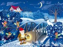 Escena de la noche el jardín con el gnomo y las hadas ilustración del vector