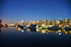 Escena de la noche en el puerto 1 de Vancouver Fotos de archivo libres de regalías