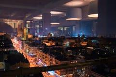 Escena de la noche en la ciudad de Kiev imagenes de archivo