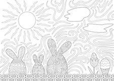Escena de la noche de la familia de Pascua con el huevo de Pascua stock de ilustración