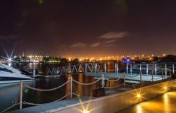 Escena de la noche de Lagos Nigeria en la laguna 2 fotos de archivo libres de regalías