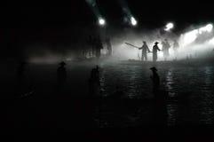 Escena de la pesca de la noche Fotos de archivo