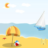 Escena de la playa stock de ilustración