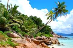 Escena de la playa de Digue del La Imagen de archivo