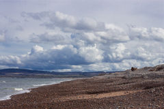 Escena de la playa de la bahía de Spey foto de archivo