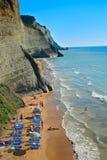 Escena de la playa de la isla de Corfú Fotos de archivo