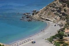 Escena de la playa en la isla de Crete Imágenes de archivo libres de regalías