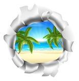 Escena de la playa a través del fondo Foto de archivo libre de regalías