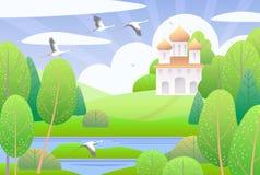Escena de la primavera con la iglesia y los árboles verdes ilustración del vector