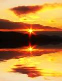 Escena de la puesta del sol Fotos de archivo libres de regalías