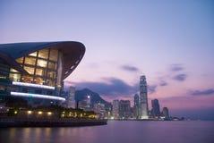 ESCENA DE LA PUESTA DEL SOL DE HONG-KONG    Imagen de archivo libre de regalías