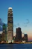 Escena de la puesta del sol de Hong-Kong fotografía de archivo