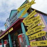 Escena de la ruta 66 del vintage, muestras de destino Foto de archivo libre de regalías