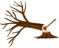 Escena de la tala de árboles con el árbol tajado libre illustration
