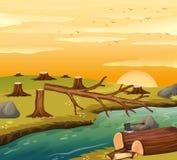 Escena de la tala de árboles en la puesta del sol libre illustration