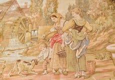 Escena de la tapicería de la vendimia Foto de archivo