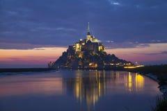 Escena de la tarde de Mont Saint Michel Foto de archivo