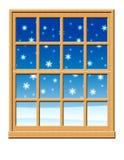 Escena de la ventana del invierno Imagen de archivo