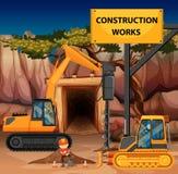 Escena de las construcciones con la taladradora y la niveladora libre illustration