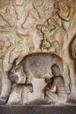Escena de las cuevas de Mahabalipuram Fotos de archivo libres de regalías