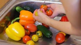 Escena de lavar verduras frescas bróculi, pimienta y zanahorias Debajo del golpecito Tirado en cámara ÉPICA ROJA del cine en lent almacen de metraje de vídeo