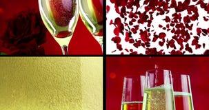 Escena de Multiscreen con champán de la colada, de la bebida y del primer en las flautas con las burbujas con volar rojo de las r almacen de video