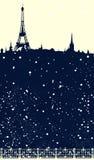 Escena de París de la estación del invierno - torre Eiffel y vector descendente de la nieve stock de ilustración