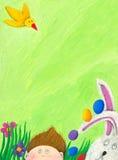 Escena de Pascua con el muchacho, el conejo y el pájaro Foto de archivo libre de regalías