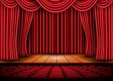 Escena de teatro con las cortinas rojas y el piso de madera Ilustración común del vector ilustración del vector