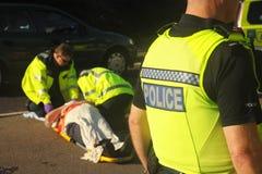 Escena del accidente Imagen de archivo libre de regalías