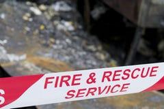 Escena del accidente de fuego Fotografía de archivo