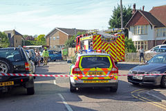 Escena del accidente de tráfico de la emergencia Imagen de archivo