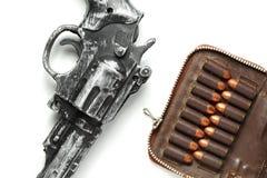 Escena del arma y de la bala Imagen de archivo libre de regalías