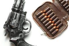 Escena del arma y de la bala Foto de archivo